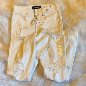 NWT white distressed express ankle crop jeans